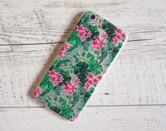 Pink Tropical Rainforest Flowers Design Soft Mobile Phone Case - for; iPhone 5,  6/6S, 6/6S Plus, SE, 7 & 7 Plus