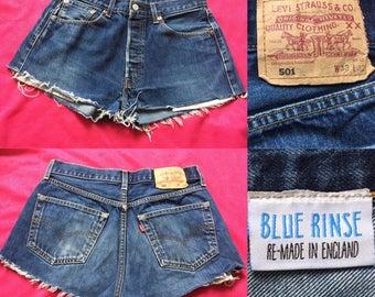 Vintage Blue Rinse Customised Levi Denim Shorts - UK Size 14/US Size 10