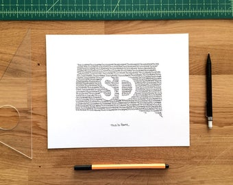 South Dakota Print - 8x10, Hand Drawn, Art Print, Wall Art, Home State Decoration, Gift for Him, Gift for Her, State Pride, Word Art