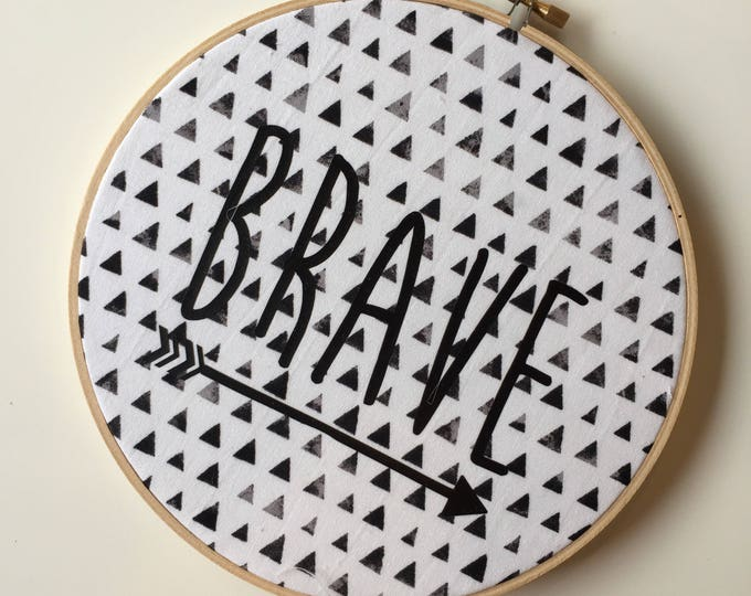 """BRAVE 8"""" Wall Hoop Hanging Wall Decor in Prism Fabric"""