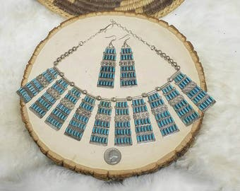 Beautiful Zuni petit point sterling silver necklace and earrings ON SALE!!