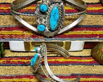 Vintage Sleeping Beauty Navajo Sterling silver and turquoise bracelet