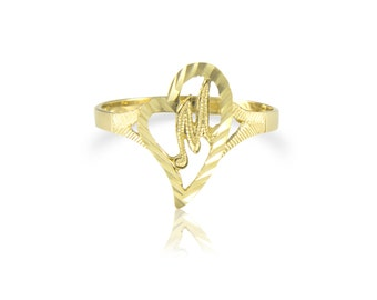 10K Solid Yellow Gold Heart Initial Letter Ring - A-Z Any Alphabet Love Band