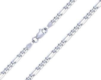 """14K Solid White Gold Classic Figaro Necklace Chain 3.2mm 18-26"""" - Link"""