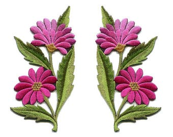 A Pair Of Beautiful Pink Daisy Flower Bouquet Iron On Patches Sew On Appliques
