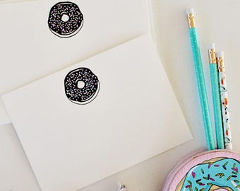 Embossed Note Cards, Donut with Sprinkles, Flat Note Cards, Stationery Set, Donut Note Cards
