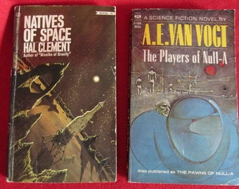 """Two Vintage Sci-Fi Paperbacks: """"Natives of Space"""" and """"Players of Null-A"""""""