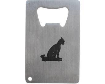 Tabby Cat Bottle Opener, Stainless Steel Credit Card Size, Bottle Opener For Your Wallet, Credit Card Size Bottle Opener