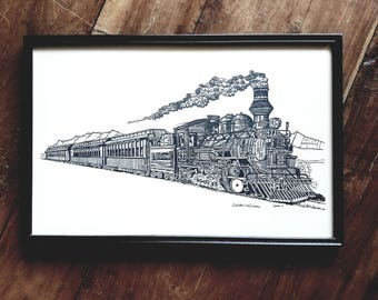 Rio Grande Railroad Steam Locomotive Print Signed Ricardo