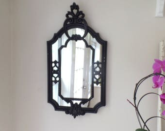Large Black Mirror - Vintage Ornate Rectangle - Gothic Style - Shabby Chic - Distressed Black - Wall Mirror - Bathroom - Bedroom - Decorativ