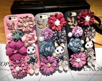Baroque Rabbit&Flowers Hanging Neck Phone Case for Iphone 5 5s 6 6s Plus 7 Samsung LG