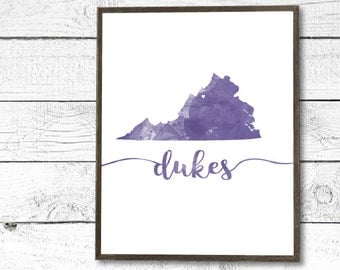 JMU James Madison Inspired Dukes Virginia Watercolor Instant PDF Printable Download - College/University/Dorm Decor, Wall Art Sign, Purple