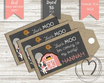 Girl Farm Animals THANK YOU Tags/Favor Tags/Pink Coral/Barnyard/Old Macdonald/First Birthday/Printable/Digital/DIY Party Decor/Rustic Party
