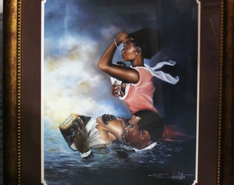 Spiritual Support,Black Art,african american Art, Limited Edition of 900, size 26 X 30 Framed And Matted.