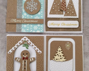 Set of four luxury handmade Christmas cards.