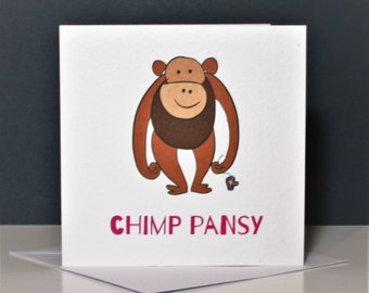 Funny chimp card, Chimp Pansy Card, chimp card, chimpanzee card