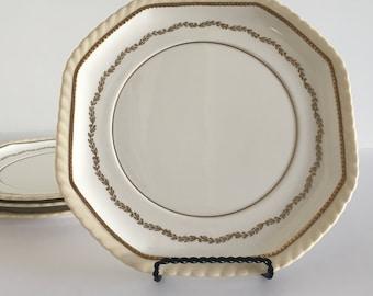 "Set of 4 STEUBENVILLE MONTEBELLO 8"" Plates- Made for Herman C. Kupper NY- Gold Laurel- Vintage Dinnerware"