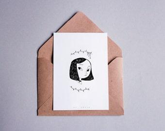 Card postal black & white, 10, 5 x 14, 8 - girl Illustration