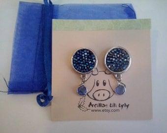 Earrings stones blue swarovski