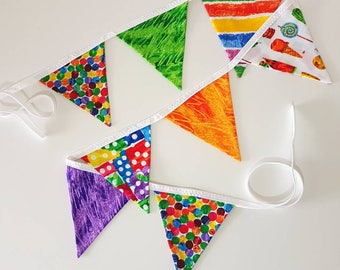 Fabric Bunting - The Very Hungry Caterpillar Bunting - Party Bunting - Baby Shower Bunting - Children's Bunting - Fabric Garland - Spots