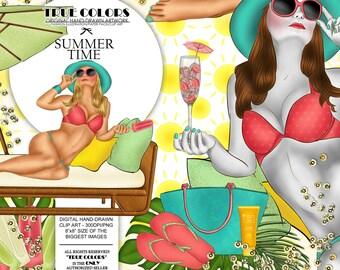Summer Time ClipArt Tropical Woman Fashion Illustration Planner Stickers Supplies Beach Palm Handbag Champagne Pillows Icecream Sticker DIY