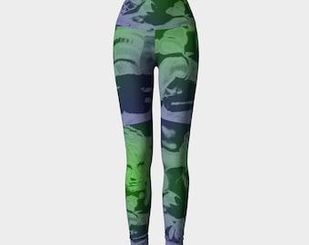 Tank Girl Lori Petty Green and Violet Print Leggings