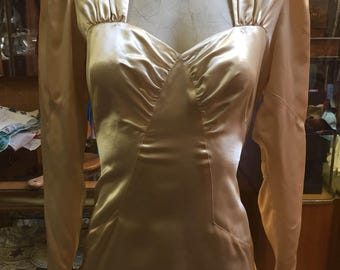 Creamy satin bridal gown of the 1930s