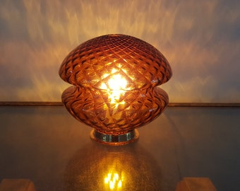 Vintage amber & gold table lamp