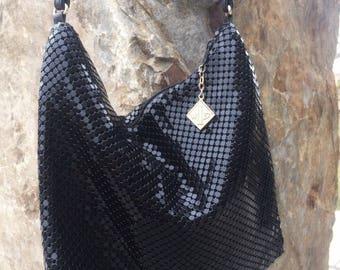 Whiting and Davis Black Hobo Bag