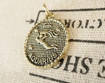 Zodiac Aquarius charm gold vintage style pendant jewellery supplies C228