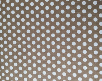 Taupe Dot Fabric - Michael Miller Dirt Kiss Dot Fabric - Tan and White Polka Dot Material