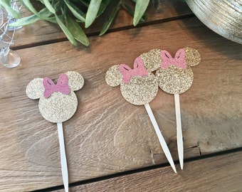Glittered Minnie Mouse Toppers, Minnie Cupcake Toppers, Minnie Food Picks, Minnie Mouse Party, Gold Minnie Mouse Cupcake Toppers