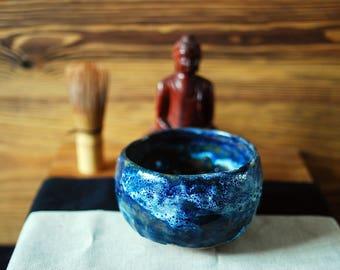 Blue ceramic chawan teabowl for matcha tea ceremony
