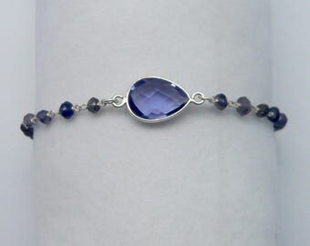 Iolite bracelet and sterling silver 925: chain rosary and fine stones