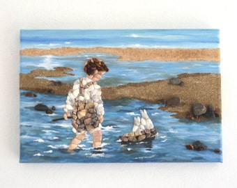 Young Boy with his Toy Boat in Seashell Mosaic