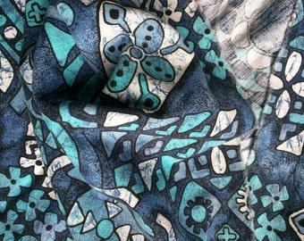 "Vintage Hawaiian bark cloth tiki fabric blue island Midcentury 42"" wide 1.5 yards cotton"