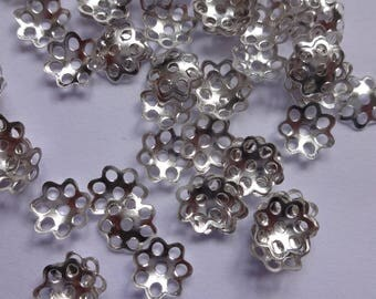 300 pcs Quality Filigree flower bead caps - 6mm Bright Silver Plated
