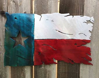 Tattered Texas State Flag Metal Art Home Decor
