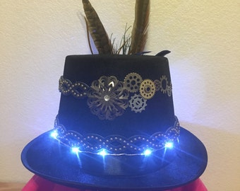 Steampunk Tophat / Hat Black LED Lights Cosplay Men's Women's Unisex Feathers Lights