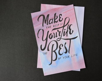 Hand painted postcard Encouragement Cards Motivational Art Painted postcard Compliment Card Original illustration Gift Card Greeting Card