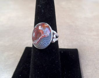 Unique Laguna Lace Agate Ring 1247