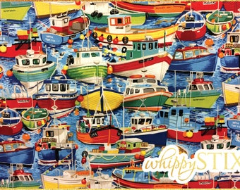 Boat Fabric By the Yard, Seaside Fishing Boats 457 by The Henley Studio Makower UK, BTY Colorful Waterside Marina Cotton Quilting Fabric
