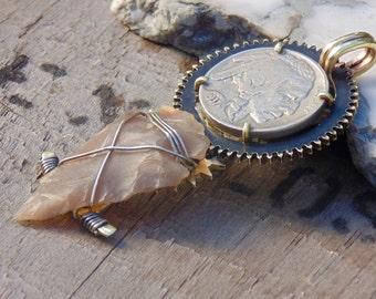Native American Steampunk 1937 Buffalo Nickel Necklace