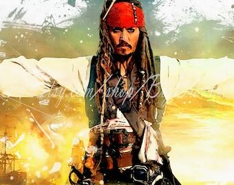 Jack Sparrow, Jack Sparrow watercolor print, Jack Sparrow poster, Pirates of the Caribbean, Johnny Depp poster, wall art, home decor, B-030
