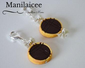Charm Chocolate Tart necklace, key chain, realistic miniature food jewelry