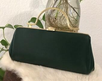 1960s - Emerald Green Clutch - Vegan Clutch - Gold Tone