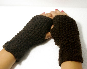"50% OFF Crochet Gloves: ""BROWN GLOVES"" Fingerless Brown mittens, Hand Warmers Hand Knit Mittens, Ladies Winter Mittens Winter accessory A126"