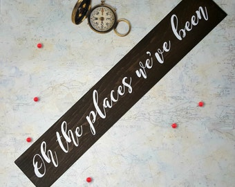 Oh The Places We've Been Wooden Sign, wall decor, home decor, hand painted, gallery wall, Dr. Seuss, photo wall, memory wall