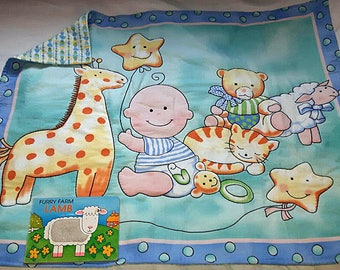 Handcrafted baby quilt - handmade - baby blanket - baby print - pure cotton - washable cotton quilt - hand-stitched - baby gift - cute quilt