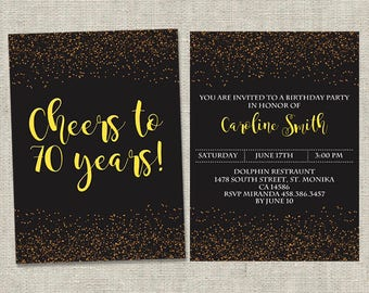 70th Birthday Inivitation, 70th invitations, any age invitation, 50th invitation, 30th, 40th, 60th, 80th, 90th birthday invitation, custom